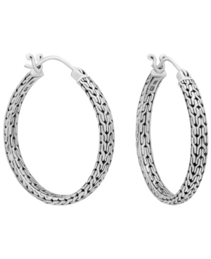 Bali Filigree Dragon Bone Hoop Earrings in Sterling Silver