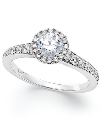 14k White Gold Diamond Halo Engagement Ring (1 ct. t.w.)
