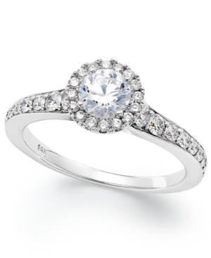 14k White Gold Diamond Halo Engagement Ring (1 ct. t.w.)