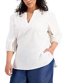 Plus Size 3/4-Sleeve Split Neckline Top, Created For Macys