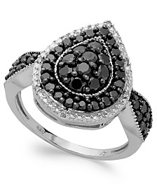Sterling Silver Black (1 ct. t.w.) and White Diamond Accent Pear-Shaped Ring