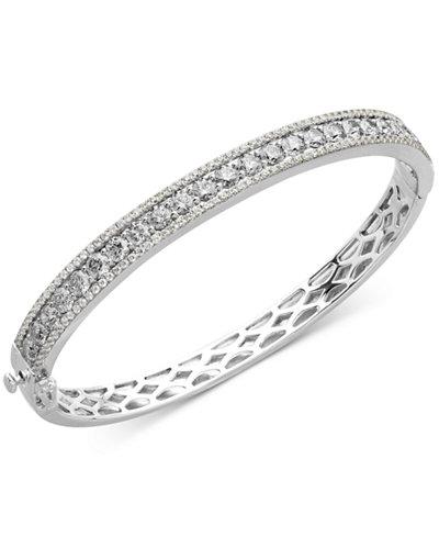 Arabella Sterling Silver White Swarovski Zirconia Bangle Bracelet (9-1/3 ct. t.w)