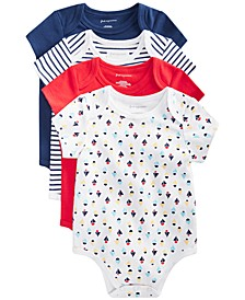 Baby Boys 4-Pack Sailboat Cotton Bodysuit Set, Created for Macy's