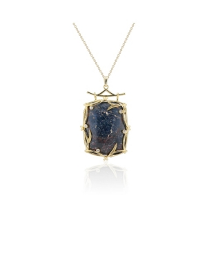 Rectangular Vine Sterling Silver Pendant in Fine Yellow Gold Plate