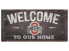 """Fan Creations Ohio State Buckeyes 6""""H x 12""""W Welcome Wood Collage Sign"""