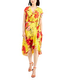 Petite Ruffled Asymmetrical-Hem Midi Dress