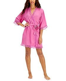 Lace Trim Short Robe, Created for Macy's