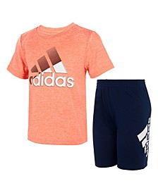 Little Boys Short Sleeve In Motion T-shirt and Shorts, Set of 2