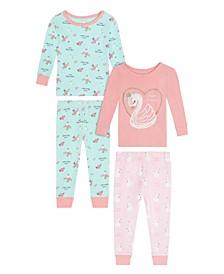 Baby Girls Swan Sleepwear, 4 Piece Set