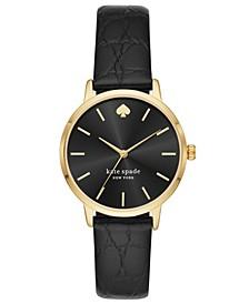 Women's Metro Three-Hand Black Leather Watch 34mm