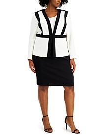 Plus Size Colorblocked Skirt Suit
