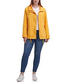 Trendy Plus Size Hooded Rain Jacket