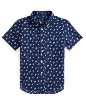 폴로 랄프로렌 Polo Ralph Lauren Little Boys Angelfish Print Seersucker Shirt,Mini Angelfish