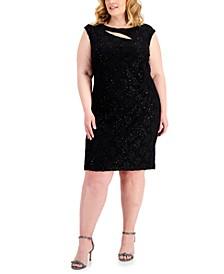 Plus Size Cutout Lace Sheath Dress