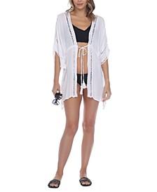 Crochet-Trim Tie-Front Kimono Cover-Up
