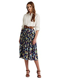 Floral Pleated Georgette Midi Skirt
