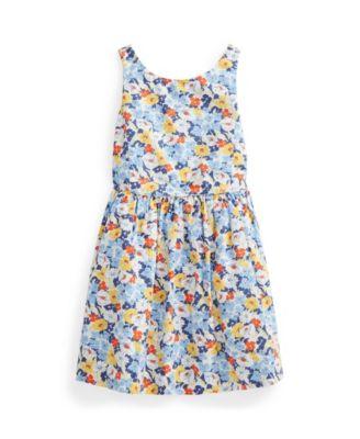 폴로 랄프로렌 Polo Ralph Lauren Little Girls Floral Poplin Dress,Preppy Floral