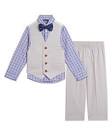 Toddler Boys Heather Check Vest, 4-piece Set
