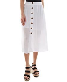 Juniors' Button-Front Gauze Skirt