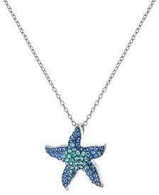 """Crystal Starfish Pendant 16+2"""" Extender Chain In Fine Silver Plated"""