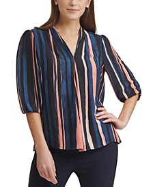 Pleated Striped Top