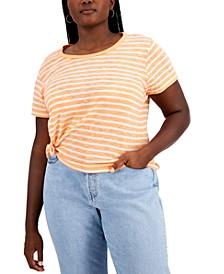 Trendy Plus Size Striped Side-Tie T-Shirt