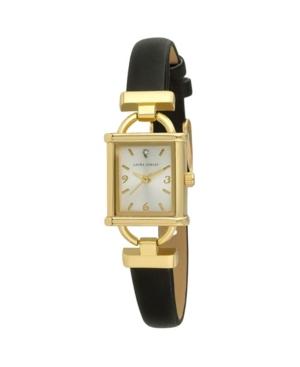 Women's Classy Petite Hinge Square Black Polyurethane Strap Watch 22mm