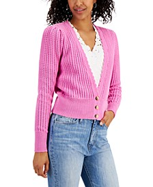 Open-Knit Scalloped-Trim Cardigan Sweater, Created for Macy's
