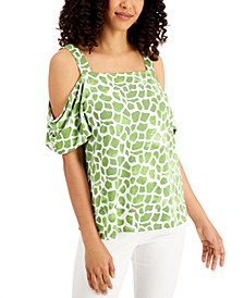 Petite Cold-Shoulder Square-Neck Top, Created for Macy's
