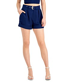 Solid High-Waist Pleat-Front Belted Shorts, Created for Macy's