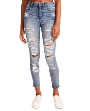 Juniors' Distressed High-Rise Skinny Jeans