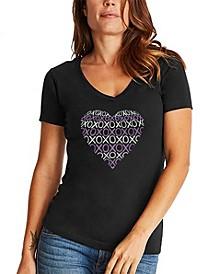 Women's Word Art XOXO Heart V-Neck T-Shirt