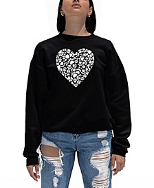 Women's Word Art Paw Prints Heart Crewneck Sweatshirt