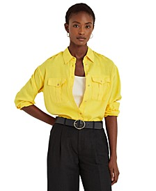 Petite Patch Pocket Buttoned Top