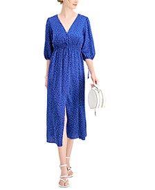 Printed Smocked-Waist Dress