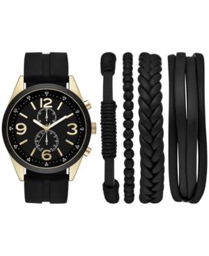 Men's Black Silicone Strap Watch & Bracelets Gift Set 48mm