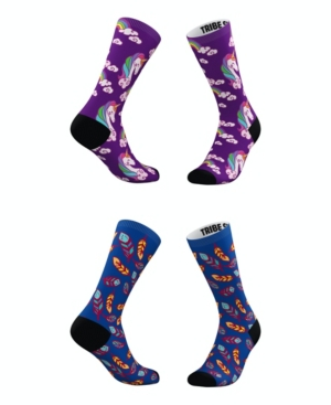 Tribe Socks Socks MEN'S AND WOMEN'S MAGICAL UNICORN AND FEATHERS SOCKS, SET OF 2
