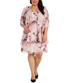 Plus Size Floral-Print Chiffon Jacket & Dress
