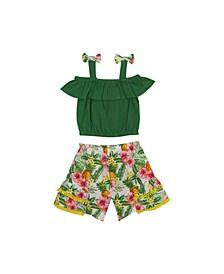 Toddler Girls Tropical Short Set, 2 Piece Set