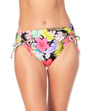 Juniors' Floral-Print High-Waist Bikini Bottoms