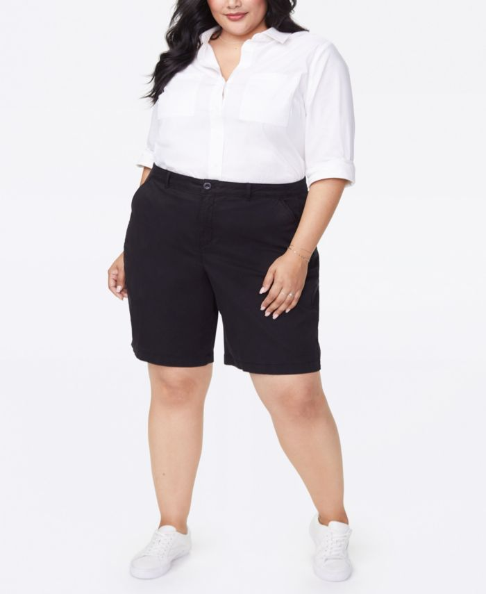 NYDJ Plus Size Bermuda Shorts in Stretch Twill & Reviews - Women - Macy's