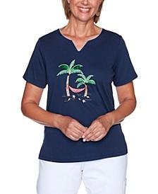Plus Size Island Hopping Palm Tree Hammock Top