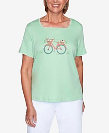 Plus Size Island Hopping Bicycle Embroidery Top
