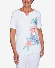 Plus Size Island Hopping Floral Embroidered Top