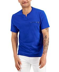 Men's Pintucked Split-Neck T-Shirt, Created for Macy's