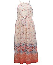 Big Girls Border Printed Chiffon Maxi Dress with Self Tie Front