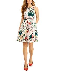 Petite Belted Fit & Flare Dress
