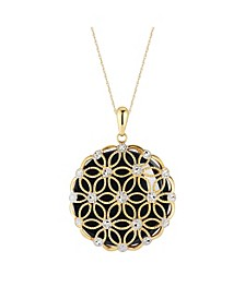 """Mother-of-Pearl Flower Filigree Disc 18"""" Pendant Necklace in 14k Gold (Also in Onyx and Jade)"""