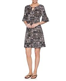 Plus Size Bead Batik Puff Dress