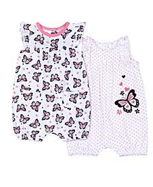 Baby Girls Butterfly Short Romper, 2 Piece Set